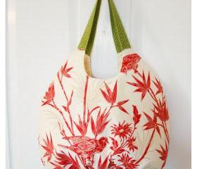 Pleated Handbag Purse Tote Red and White Bird and Bamboo