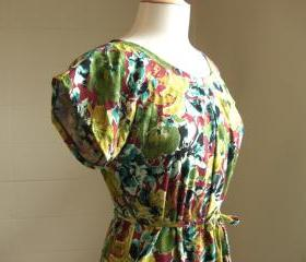 Womens Floral Print Summer Dress with Short Sleeves