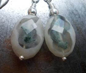 Solar Quartz, rare natural stone, silver jewelry, earrings, nature moss landscape, zen gemstone and sterling silver earrings