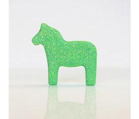 Green Dala Horse Figurine with Pastel Glitter