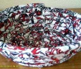 Handmade Black, Red and White Basket or Bowl, 10 inch diameter and 3.25 inches tall
