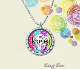 Personalized Colorful Dots Cupcake Bottle Cap Necklace 