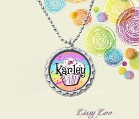 Girly Cupcake Personalized Bottle Cap Necklace 