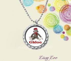 Personalized Sock Monkey Bottle cap necklace 