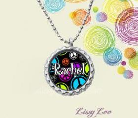 Personalized Peace Signs Bottle cap necklace 