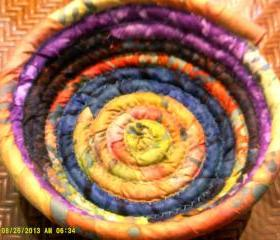 Coiled Fabric Basket Bowl multi-colored Yellow, Purple, Blue, Orange, Turquoise - 8 inches across