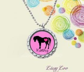Personalized Horse Bottle cap necklace