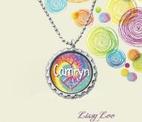 Personalized Tye Dye Heart Bottle cap necklace
