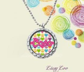 Peace Sign and Hearts Personalized Bottle Cap Necklace