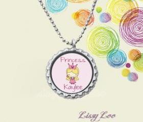 Little Princess Personalized Bottle cap Necklace , Choose Blonde or Brown Hair
