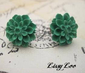 Teal Mum Earrings 