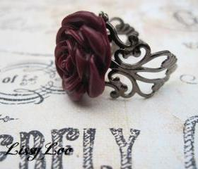 Burgandy Filigree Rose Rings