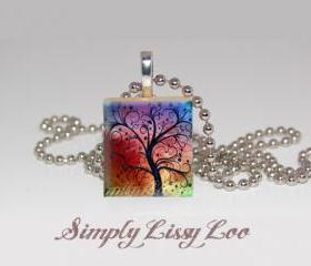 Color Tree Scrabble Tile Necklace 