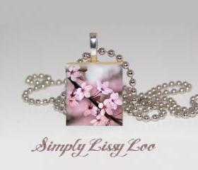 Cherry Blossom Scrabble Tile Necklace 