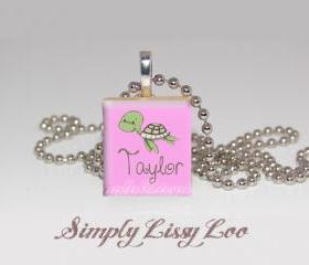 Little Turtle Personalized Scrabble Tile Necklace