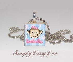 Monkey Personalized Scrabble Tile Necklace