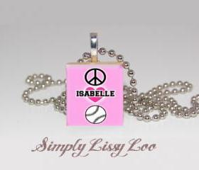 Peace Love Soft ball Personalized Scrabble Tile Necklace 