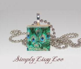 Peacock Feather Scrabble Tile Necklace