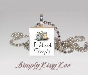 I shoot People Photography Scrabble Tile Necklace