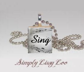 Sing Scrabble Tile Necklace