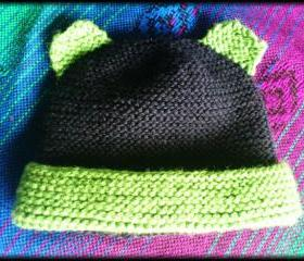 Organic Merino baby bear hat