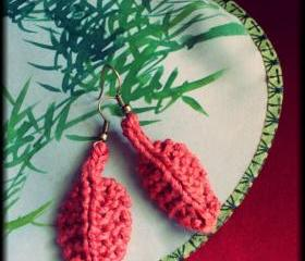 Hand knitted autumn leaf earrings