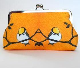 Kisslock Clutch Frame Silk Lined Bird on a Branch