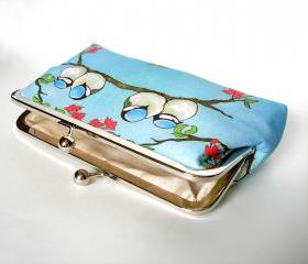 Silk Lined Birds on a Branch Frame Kisslock Clutch