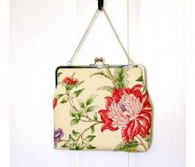 Silk Lined Linen Floral Tote Frame Kisslock Clutch