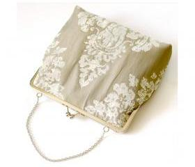 Silk Lined Grey Textured Damask Tote Frame Kisslock Clutch