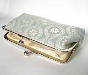 Silk Lined Floral Blue Frame Kisslock Clutch