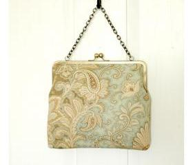 Silk Lined Blue Floral Tote Frame Kisslock Clutch