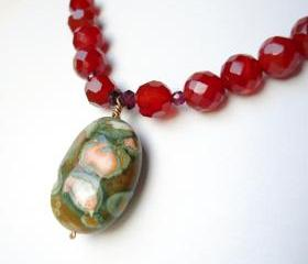 Carnelian, Garnet, Rhyolite and Solid Gold Necklace