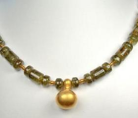 Lush Green Garnet Necklace with 22k Solid Gold