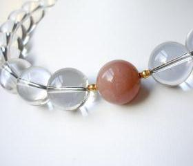 Clear Quartz, Peach Moonstone and 20K Solid Gold Necklace