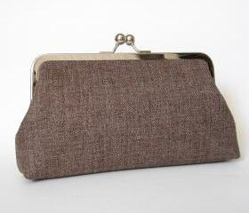 Silk Lined Tweed Frame Kisslock Clutch with Blue Interior