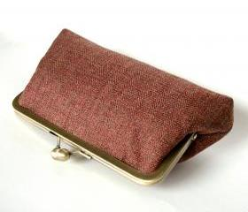 Kisslock Frame Clutch Silk Lined Tweed