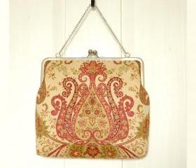Kisslock Clutch Tote Frame Purse Damask Lined in Silk