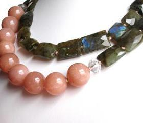 S i l v e r M o o n Necklace- Labradorite and Peach Moonstone on Hand Knotted Silk