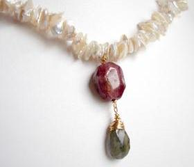 D e v o n Necklace- Tourmaline, Labradorite and Pearl in Gold OOAK