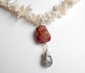 D e v o n Necklace- Tourmaline, Labradorite and Pearl in Sterling Silver OOAK