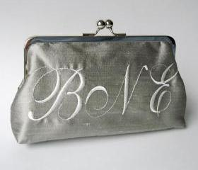 Kisslock Clutch Monogram Personalized Silk Frame Handbag