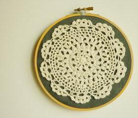 Doily Embroidery Hoop Art - Flower on Desert - Framed Wall Art - 6' hoop - Wall Hanging for Home decoration and gifts