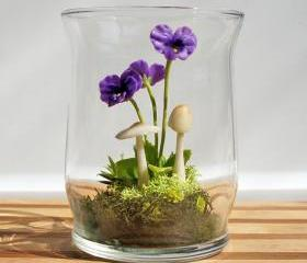 Tiny Purple Pansy Woodland Terrarium in Repurposed Glass