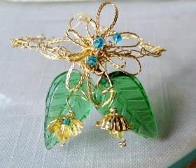 Bracelet Brass Wire Crochet green glass leaves blue and yellow fire polished beads