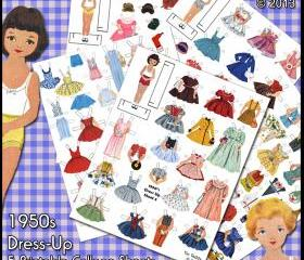 1950s Dress-Up Paper Dolls Digital Collage Sheets - Printable Vintage Betsy McCall Dollies and Lots of Fifties Style Clothes
