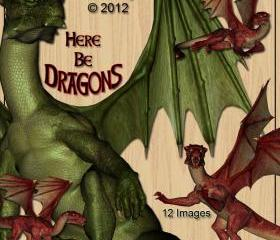 Dragons Digital Clip Art for Scrapbooking, Birthday Card Making, Decoupage and More 12 Images