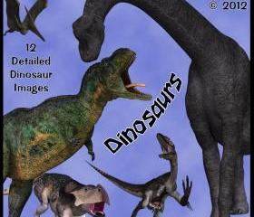 Dinosaurs Digital Clip Art - 12 Prehistoric Images for Scrapbooking, Birthday Card Making and More