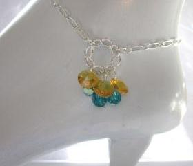 Anklet, Swarovski crystal Indocolite blue and sunflower yellow dangles on a chain, summer jewelry, sparkling