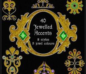 Jewelled Accents - 40 Ornate Embellishments - Digital Clip Art for Scrapbooking, Birthday Card Making & More